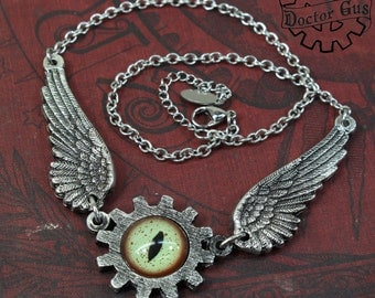 Winged Mechanical Eye Pendant - With Green Glass Alligator Eye - A Steampunk Gear Necklace - Handcrafted by Doctor Gus - FREE SHIPPING