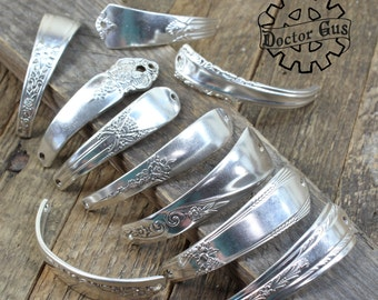 Curved Silver Spoon Handle Bracelet Parts - 2, 5 or 10 Piece - Antique Sterling Silver Plated Components - Make Spoon Jewelry Metal Stamping
