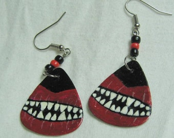 Hand-made and Hand-painted Halloween Earrings using Real Guitar Picks