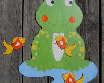 FROG & GOLDFISH Kids Bathroom Wood Wall Decor - Original Hand Painted - Large Size 16X14 - Towel Rack Option