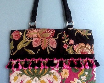 Vintage French Tapestry Tote Bag