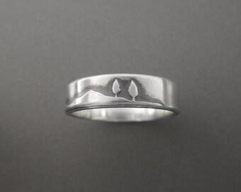 Shoreline Sterling Silver Handmade Wedding Band Ring