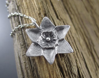 Handmade Spring Daffodil Sterling Silver Pendant