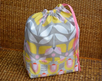 Knitting Project Bag with Tulips
