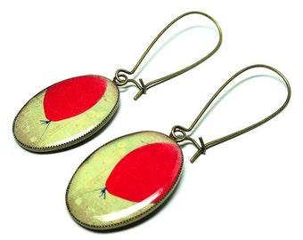 Dangle Earrings, Red Balloon Earrings, Handmade Jewelry, Red Earrings, Balloon Jewelry