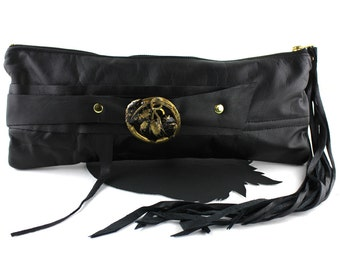 Black Leather Fox Wrist Clutch with Vintage Black & Brass Leaf Brooch