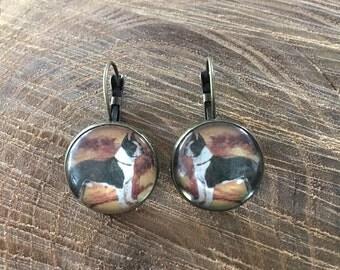 boston terrier earrings | dog jewelry, animal lover, dangle, brass