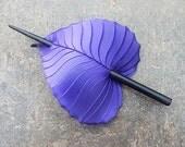 Hair Stick Barrette - Purple Birch Leather Leaf Hair Slide, Shawl Pin or Hair Accessory - Small to Medium