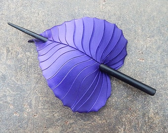 Hair Stick Barrette - Purple Birch Leather Leaf Hair Slide