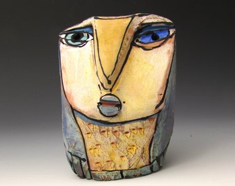 """Owl, Owl art, Clay owl, clay sculpture, """"Owl Person Centered in the Beauty of this Moment"""", 3-3/4"""" tall"""