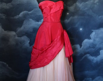 Vintage 1950s Designer Peggy Hunt Pink Strapless Formal Gown- Size X Small