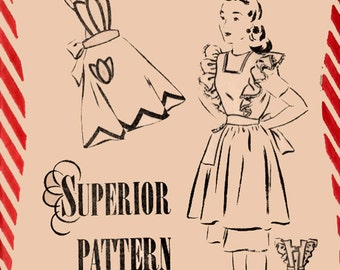 1940s Ruffle Pinafore & Tulip Apron Superior Pattern 6636 40s Vintage Sewing Pattern Size 16 Bust 34