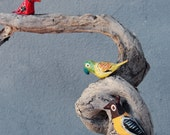 Birds Tree Driftwood Branches Hand painted Birds and Stone