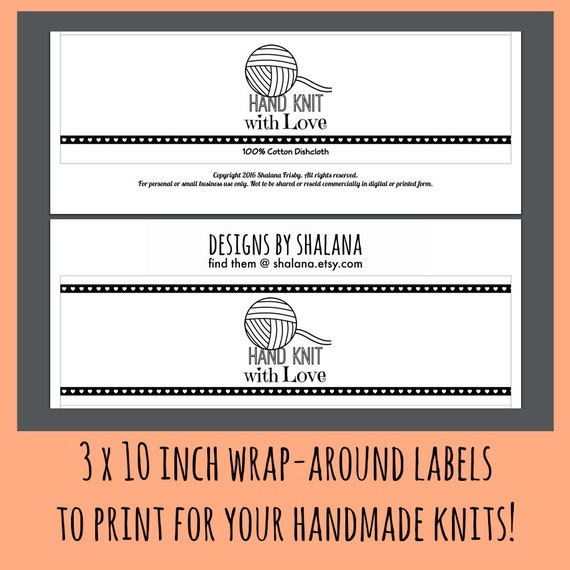 Printable pdf for knitted dishcloth label wrappers hand knit for Hand knit labels