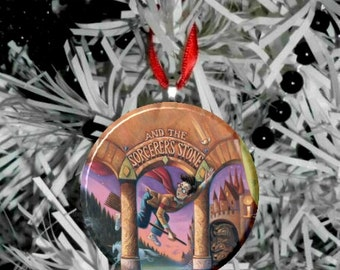 "Harry Potter Sorcerer's Stone Book Image Christmas Tree 2.25"" Ornament"