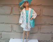 Barbie Clothes, Five piece outfit,Hat, Purse, Turquiose blue, blue dot, Skirt, Top, Spring coat,
