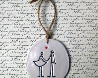 IN STOCK Christmas Ornaments: Gift Tags, Mr & Mrs Ornament, Personalized, Holiday Decor, Wedding Favors