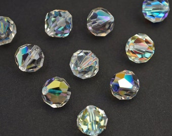 Vintage Austrian crystal beads, clear AB round bicone faceted article 39 10mm, 10 pcs