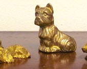 Brass Dog Ornaments Miniatures Set of Four