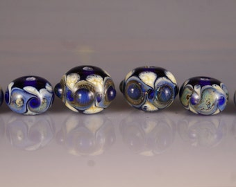 Lampwork Bead Set in Blue and Ivory