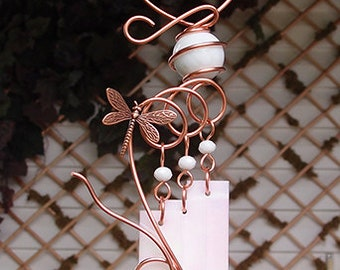 Dragonfly Windchime Glass Wind Chimes Copper Garden Ornament Art Sculpture Stained Glass Metal White