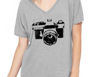 Camera Oh Snap Oversized Slouchy V Neck Tee Loose tshirt shirt