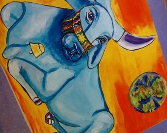 Taurus Astrology Art Card Peaceful Blue Brahm Bull Peace on Earth 5 by 7 Gift Card Free Shipping in United States