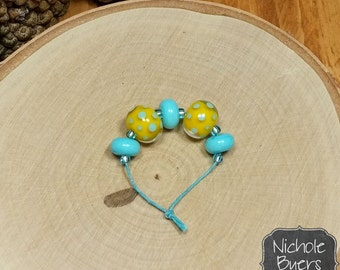 Spring Chick - Pair of Handmade Yellow and Turquoise Lampwork Glass Beads with Spacers