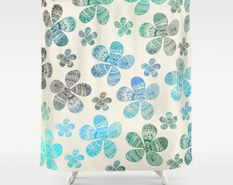 Storied Flowers fabric shower curtain- floral pattern-home decor- bathroom decor- blue- green- beige- modern home decor- flowers