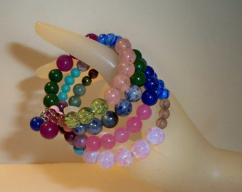 Wrap Bracelet with Pink, Blue, Green, Glass Beads, Wire Wrapped Bracelet with Four Layers of  Glass Beads on Memory Wire To  Fit Everyone