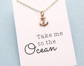 Anchor Necklace | Anchor Charm Necklace | Summer Motto Necklace | Nautical Jewelry | Layering Necklace | Silver or Gold | X16