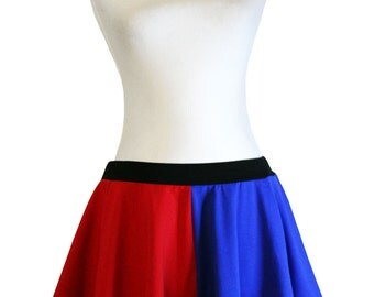 Red and Blue Cotton Harley Quinn Circle Skirt suicide squad cosplay plus size XS S M L XL 2XL 3XL mini flared elastic waistband ruffled hem