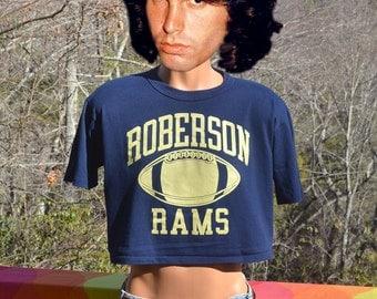 vintage t-shirt 80s half shirt FOOTBALL roberson rams high school crop top midriff tee Large Medium