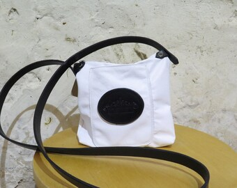 White Leather Shoulder Bag with Logo Pocket