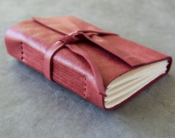 Rustic Rose Leather Journal or Sketchbook - Personalized with initials optional