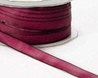 """Wired Burgundy Ribbon, Two Tone Ribbon, 7/8"""" Ribbon, May Arts Ribbon, Scapbooking, Hair Bows, Gift Bags, Gift Wrap, 6 Yards"""