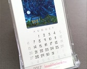 SALE! 2017 desk calendar - gift for coworkers, friends, with illustrations of cats, dogs and landscapes, mini desk calendar, new job gift