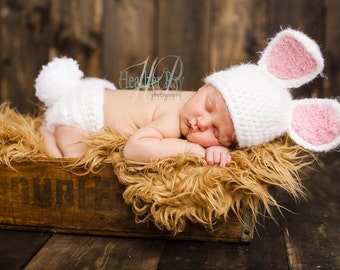Baby Bunny Set - Crochet Bunny Hat Diaper Cover - Baby animal hat - newborn photo prop - crochet baby outfit - character hat - Easter Outfit
