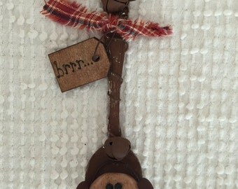 Vintage Handmade Snowman Ornament Made From a Metal Spoon - Primitive Folk Art Style