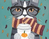 Autumn Pumpkin Grey Tabby Coffee Cat Original Folk Art Portrait Painting