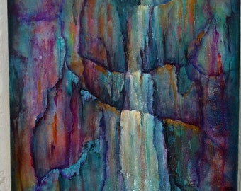 "12""x24"" Acrylic painting on gallery wrapped canvas, Waterfall 3"