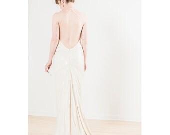 Ivory Sequin Backless Silk Wedding Dress - Alyssa