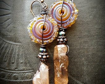 Crystals, Lampwork Glass, Lampwork Discs, Earthy, Primitive, Organic, Rustic, Beaded Earring