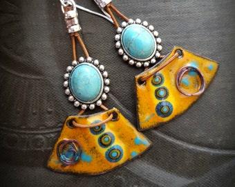 Enameled Charms, Enameled Earrings, South West, Aztec, Tribal, Turquoise, Earthy, Organic, Rustic, Beaded Earring