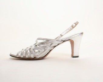 Vintage 1970s Silver Strappy Sandals - Size US 7.5 7 1/2