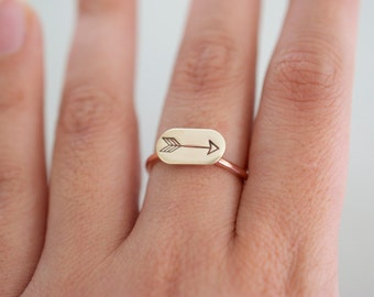 Arrow Ring - Hand stamped Custom mixed metal Stacking Ring