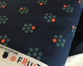 SALE Cotton and Steel fabric, Fruit Dots by Melody Miller, Fruit Blossoms Navy, Blue fabric, Polka Dot, Floral fabric, Hipster