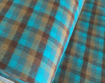 Hipster Flannel fabric, Aqua Plaid fabric, Flannel by the yard, Lumberjack Chic, Mammoth Flannel, Medium Plaid in Surf, Choose the cut