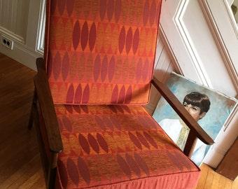 DANISH MOD ARMCHAIR Midcentury Highback Maple Wood New Orange Retro Fabric Cushions Great Condition Vintage