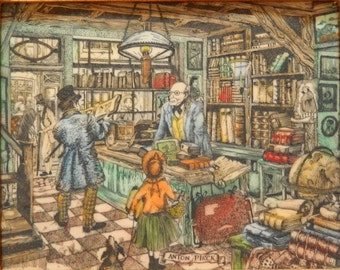 Anton Pieck Vintage Engraved Etching/ Painting on Resin * Bookshop / Bookseller * Detailed Artwork * Bookstore *